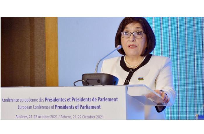 Sahibə Qafarova Parlament Sədrlərinin Avropa Konfransında çıxış edib