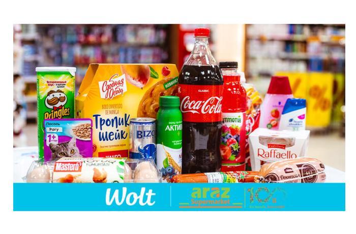 Компания Wolt начинает доставку продуктов из сети супермаркетов Araz