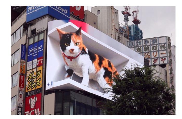 Гигантский 3D-кот на улицах Токио - ВИДЕО